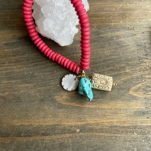 RED TURQUOISE BIG BLUE TURQUOISE NUGGET BRACELET